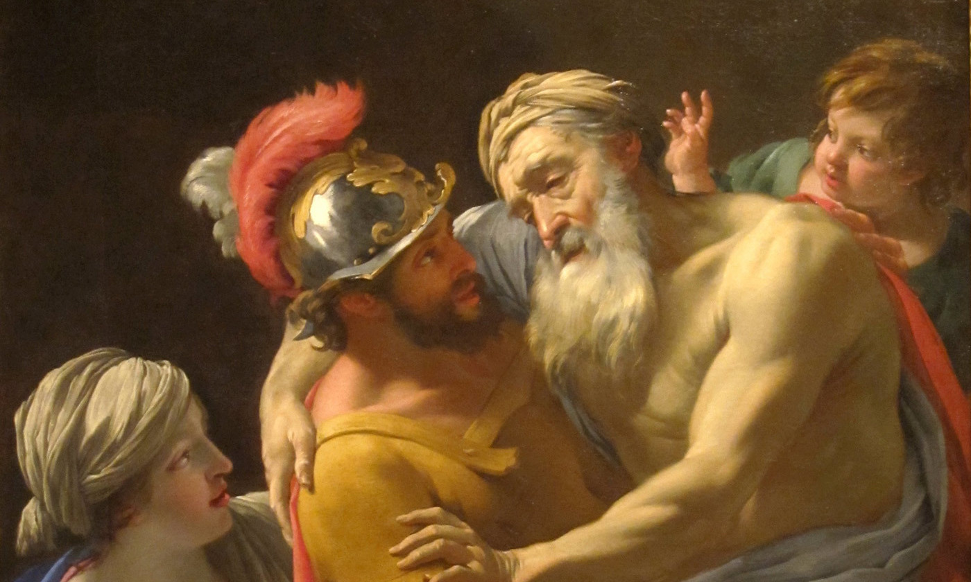 <em>Aeneas and his Father Fleeing Troy</em> by Simon Vouet c 1635. <em>San Diego Museum of Art/Wikipedia</em>