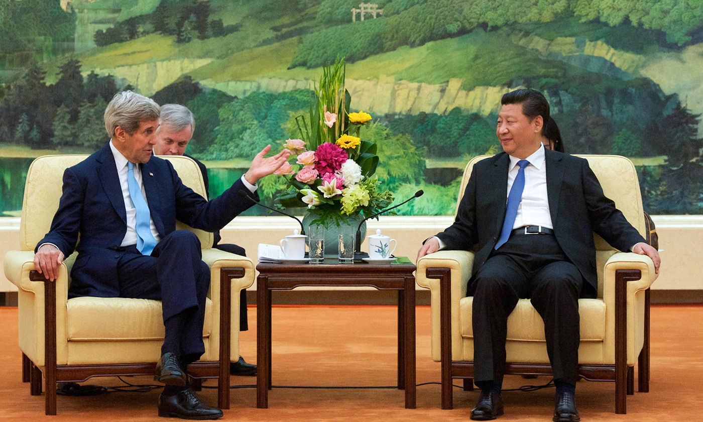 <p>The so-called 'Thucydides Trap'? US Secretary of State John Kerry addresses Chinese President Xi Jinping, Beijing, 2015. <em>Courtesy US State Department/Flickr</em></p>