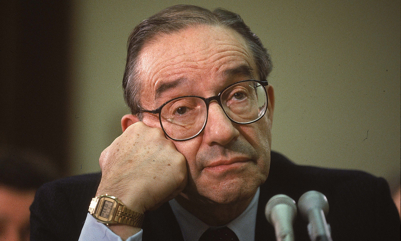 <p>The man who knew too much. Alan Greenspan pictured in 1990. <em>Photo by Terry Ashe/Life/Getty</em></p>