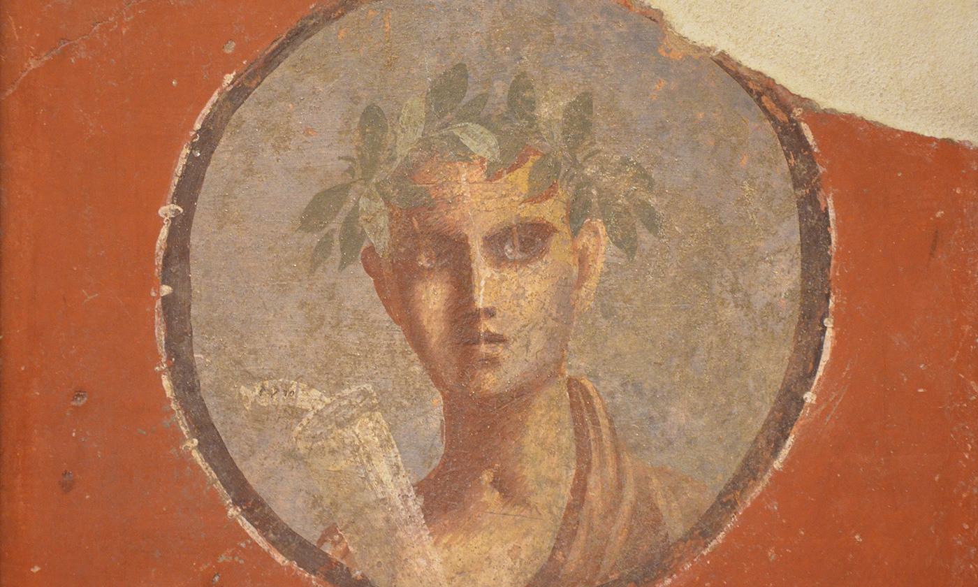 Fresco showing a sceptical looking young man with a scroll labelled &quot;Plato&quot;, from Pompeii. <em>Courtesy Wikimedia</em>