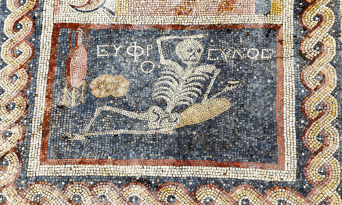 A Roman mosiac of the dead enjoying life, recently discovered in Hatay, Turkey. <em>Photo by  Anadolu/Getty</em>