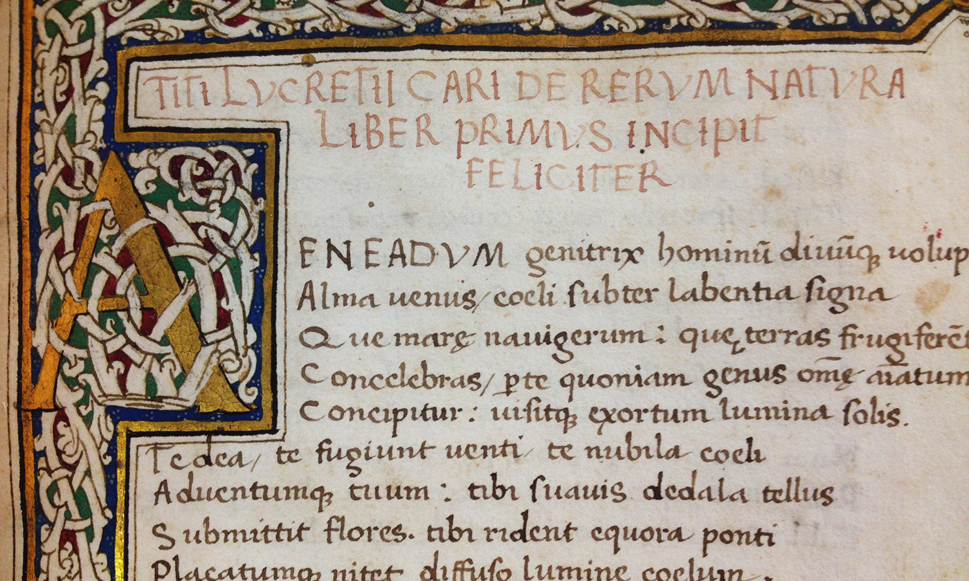 Opening from Lucretius' De Rerum Natura at the Cambridge University Library, manuscript dated to 1563. <em>Courtesy Wikipedia</em>