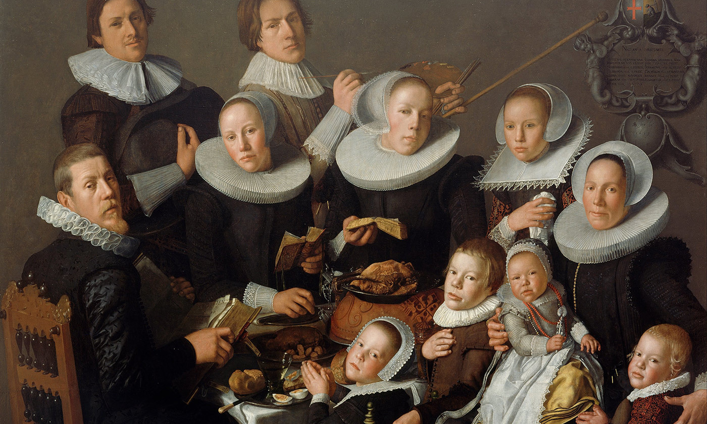 <p><em>Portrait of the Painter Andries van Bochoven and his Family </em>by Andries van Bochoven (1629) Utrecht. <em>Photo courtesy Centraal Museum/Wikimedia</em></p>
