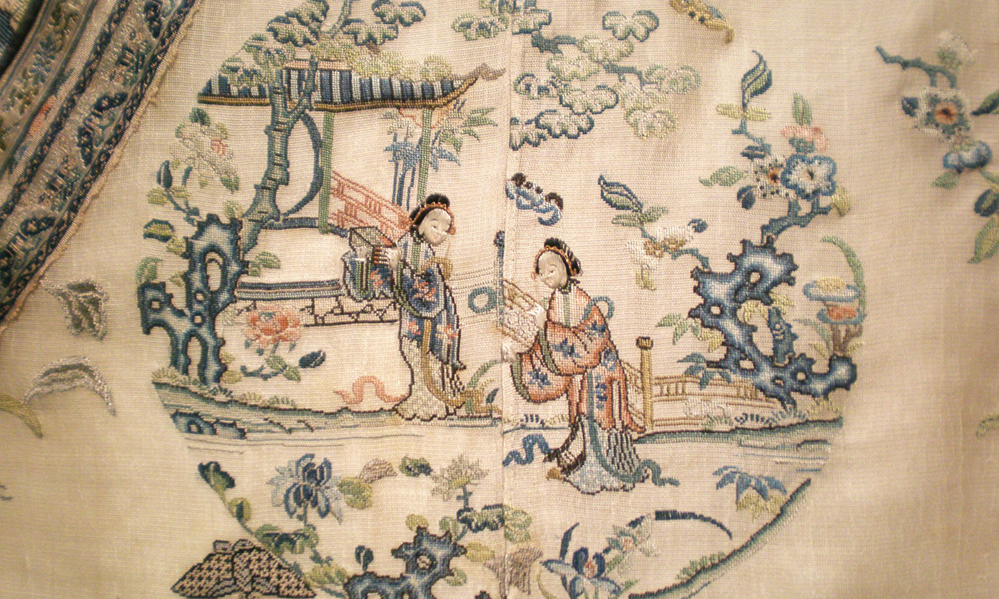 <p>Detail of the central embroidery work of a woman's summer robe, <em>c</em>1875–1900. <em>Courtesy Wikipedia</em></p>