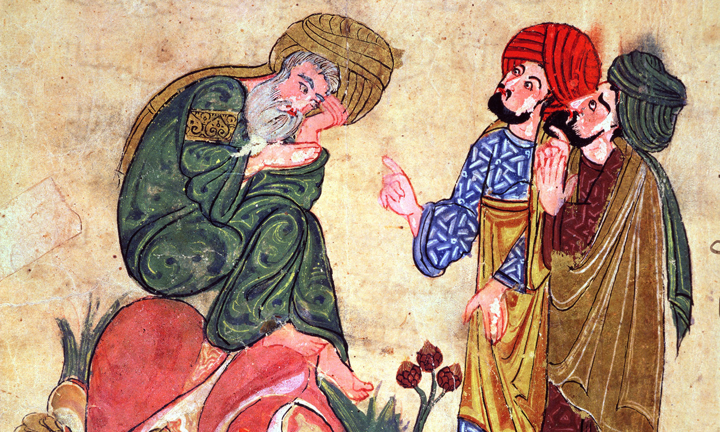 Socrates and his Students, illustration from 'Kitab Mukhtar al-Hikam wa-Mahasin al-Kilam' by Al-Mubashir, Turkish School, (13th c) <em>Photo by Bridgeman</em>
