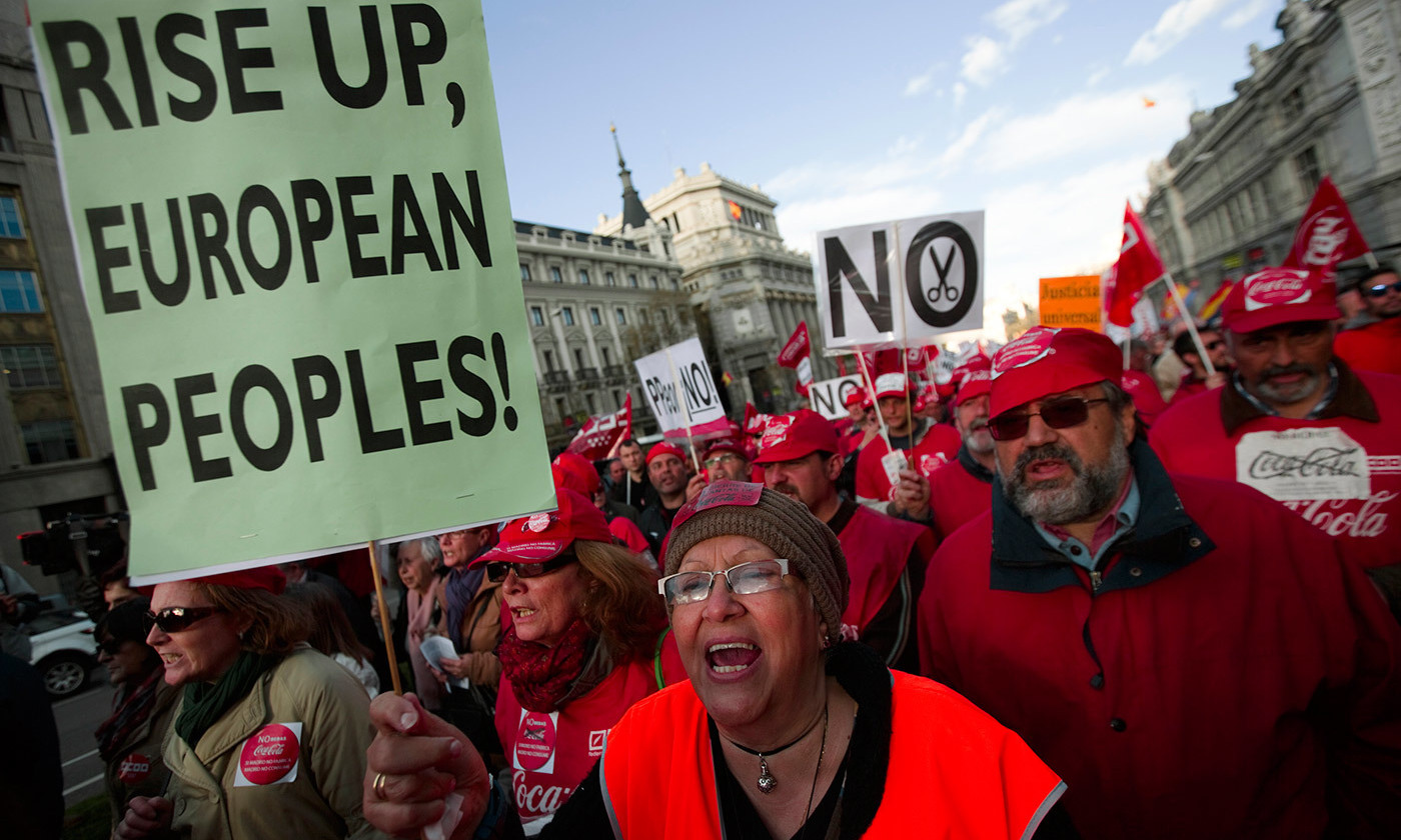 <p>Demonstrators in Madrid, Spain, in 2014. <em>Photo by Sergio Perez/Reuters</em></p>