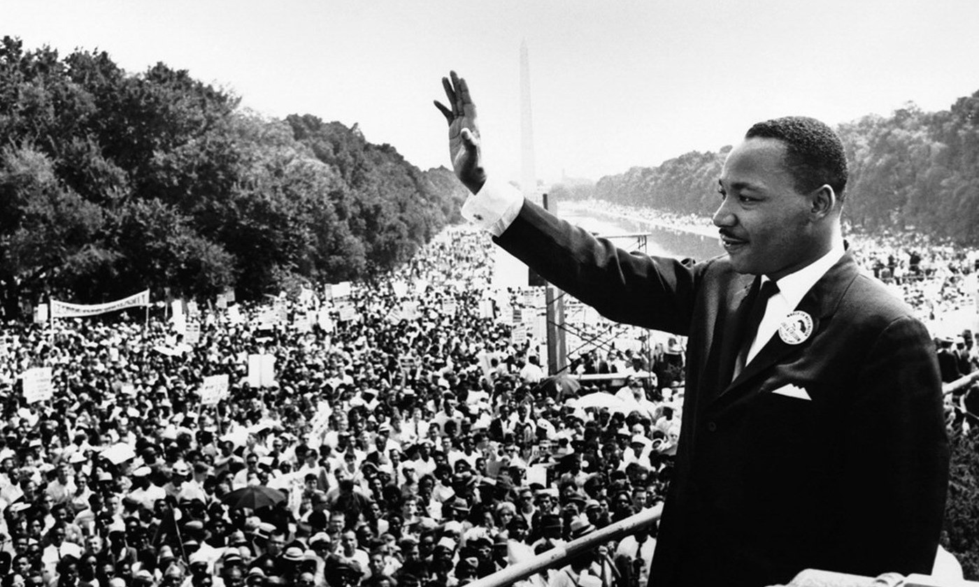 <p>Martin Luther King addresses marchers in Washington on 28 August 1963. <em>Courtesy Wikimedia</em></p>