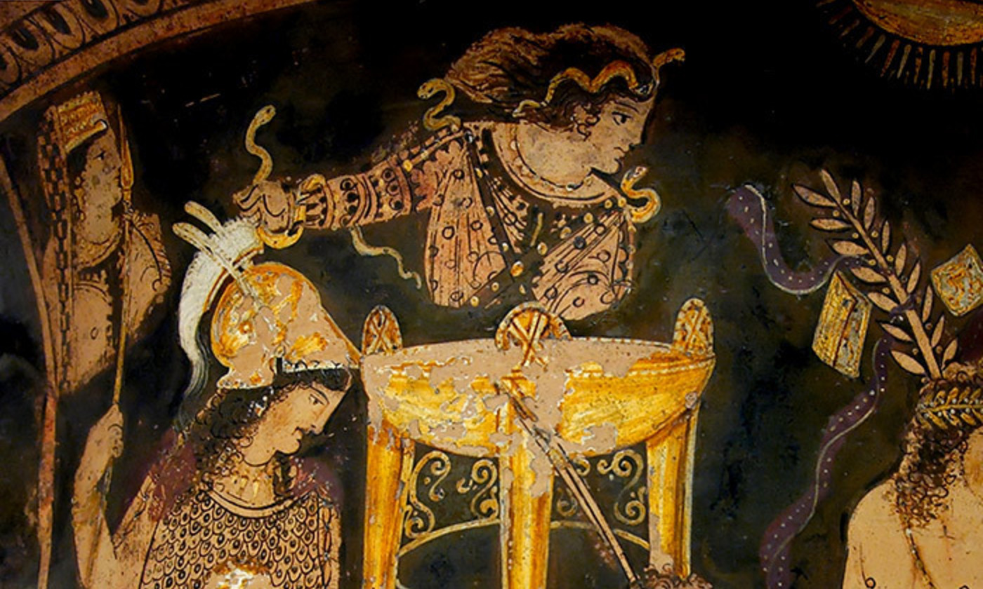 Detail from a bell krater depicting the Delphic oracle atop her tripod. <em>Courtesy the British Musuem/Wikipedia</em>
