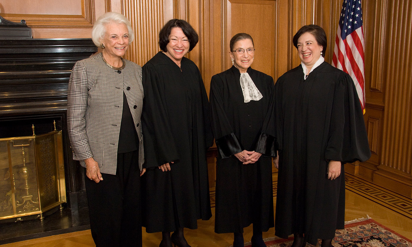 From left to right: Justice Sandra Day O'Connor (Ret.), Justice Sonia Sotomayor, Justice Ruth Bader Ginsburg, and Justice Elena Kagan in 2010. <em>Wikimedia</em>