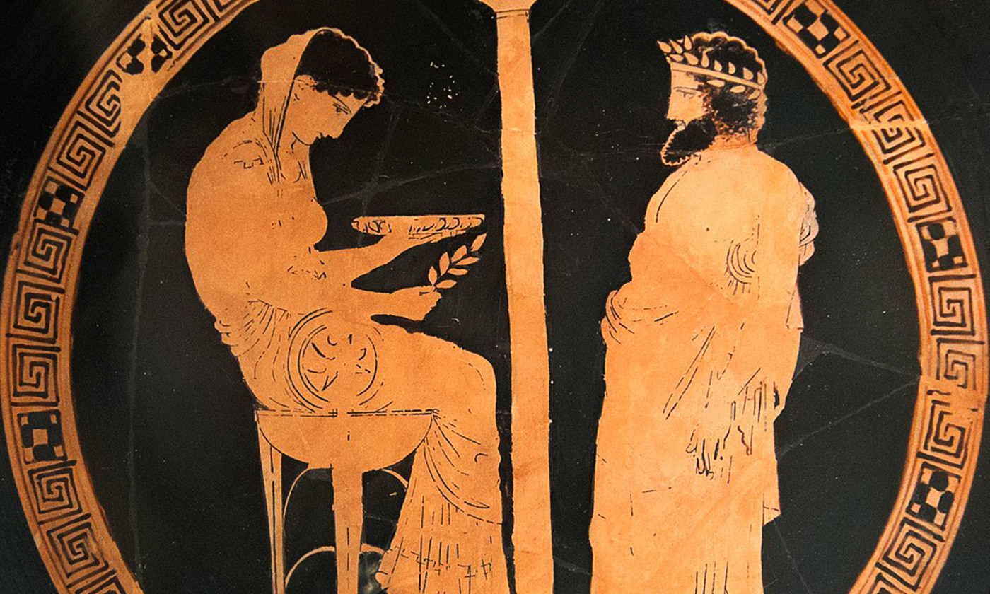 "<p>An Attic red-figure kylix from Vulci (Italy), 440-430 BC, depicting King Aigeus in front of the Pythia at the Oracle of Delphi. Courtesy <a href=""https://en.wikipedia.org/wiki/Aegeus#/media/File:Themis_Aigeus_Antikensammlung_Berlin_F2538_n2.jpg"" target=""_blank"">Wikimedia.</a></p>"