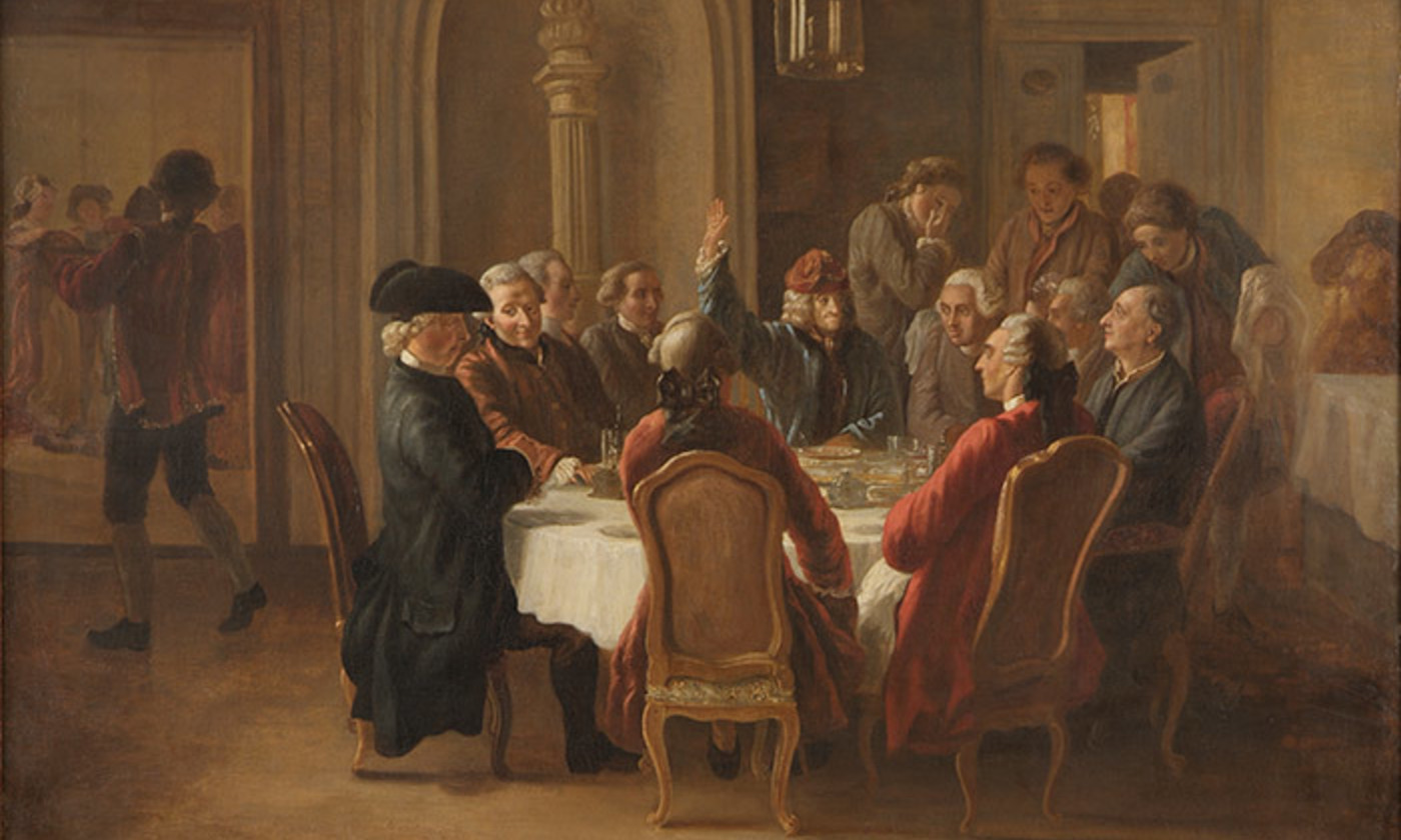 <p>Jean Huber, <em>Un dîner des philosophes </em>(1772). <em>Courtesy the Voltaire Foundation/Wikipedia</em></p>