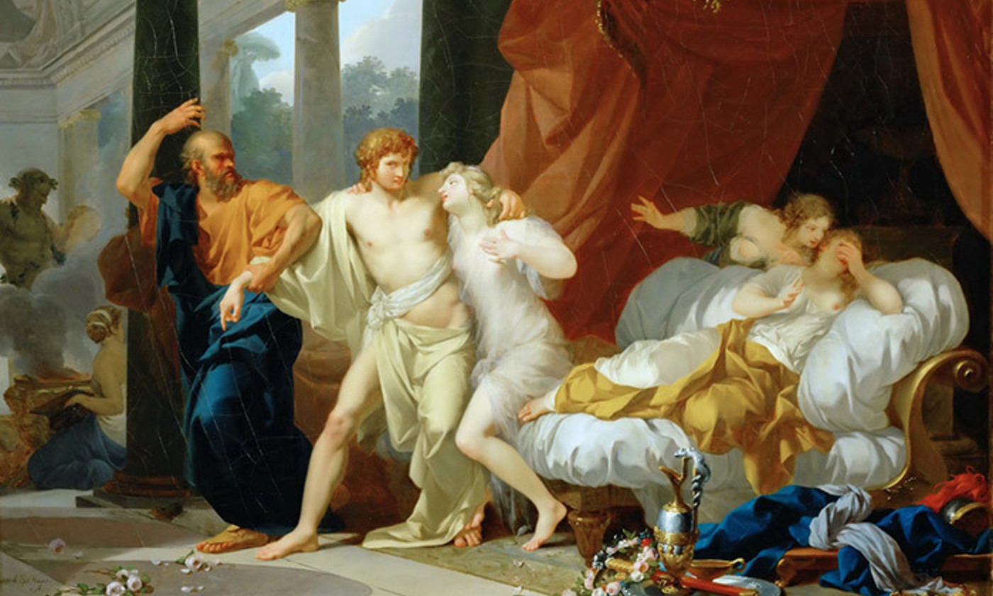 <p>Detail from <em>Socrates Dragging Alcibiades from the Embrace of Aspasia</em> (1785) by Jean-Baptiste Regnault. Louvre, Paris. <em>Courtesy Wikipedia</em></p>