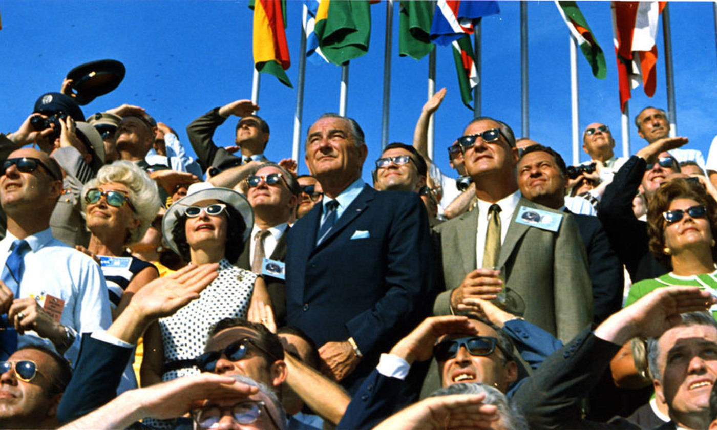 Watching the launch of Apollo 11, 16 July 1969. <em>Image courtesy NASA</em>