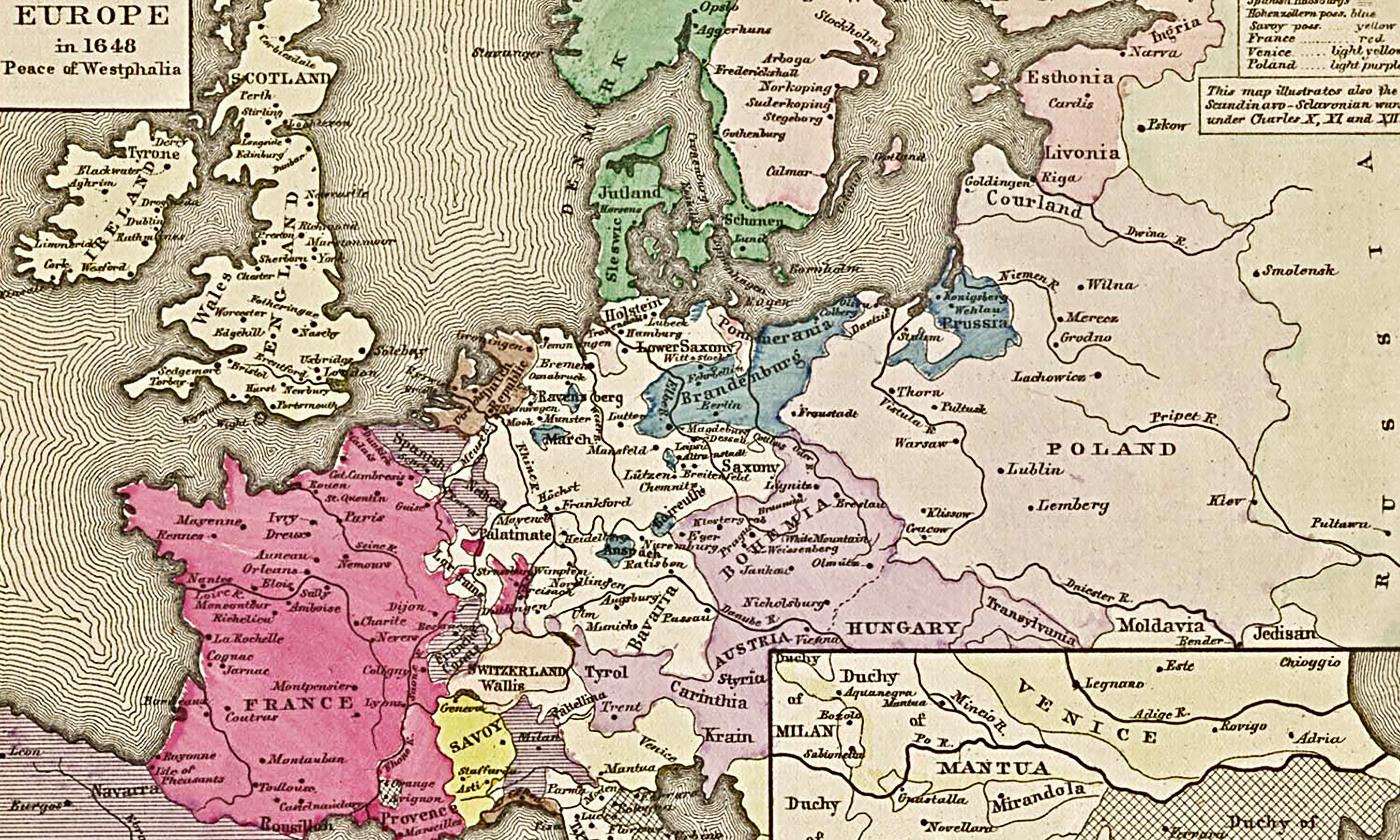 Leibniz's 'unity in multiplicity'; Europe in 1648. <em>Courtesy Wikipedia</em>