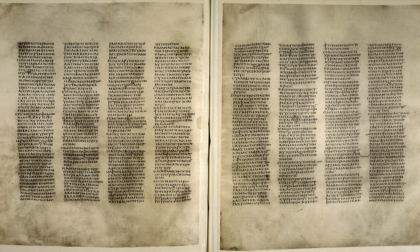 <p>Codex Sinaiticus (4th century, eastern Mediterranean). <em>Courtesy the Trustees of the British Library</em></p>