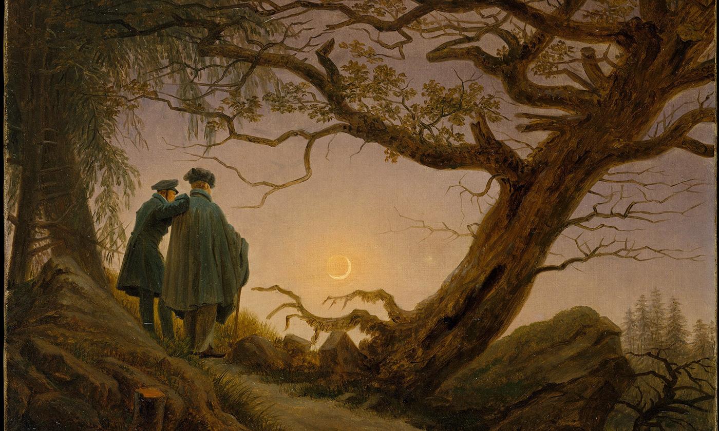<em>Two Men Contemplating the Moon</em> by Caspar David Friedrich. 1825-30. <em>Courtesy Wikipedia</em>