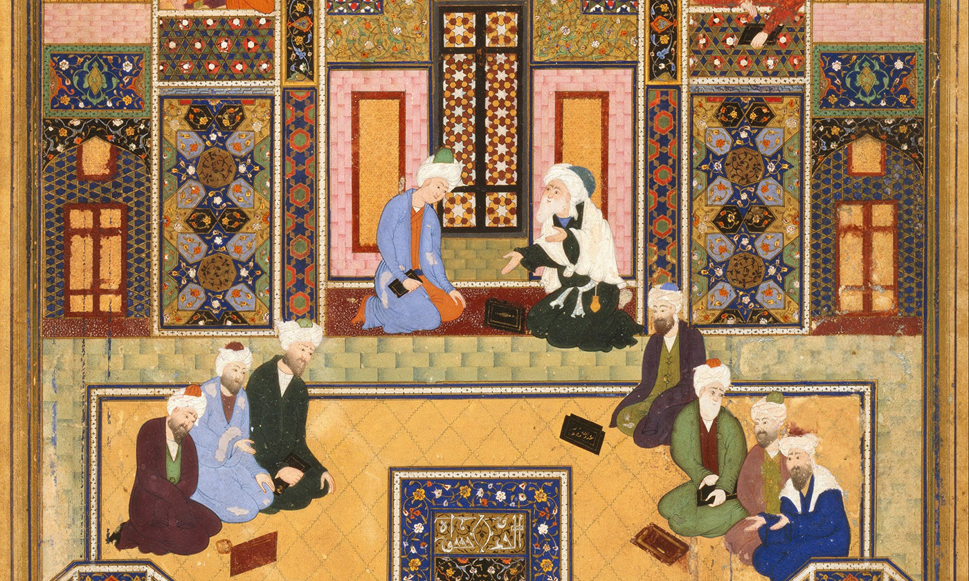 <p>Detail from 'The Meeting of the Theologians' by Abd Allah Musawwir, mid-16th century. <em>Courtesy Wikipedia</em>.</p>