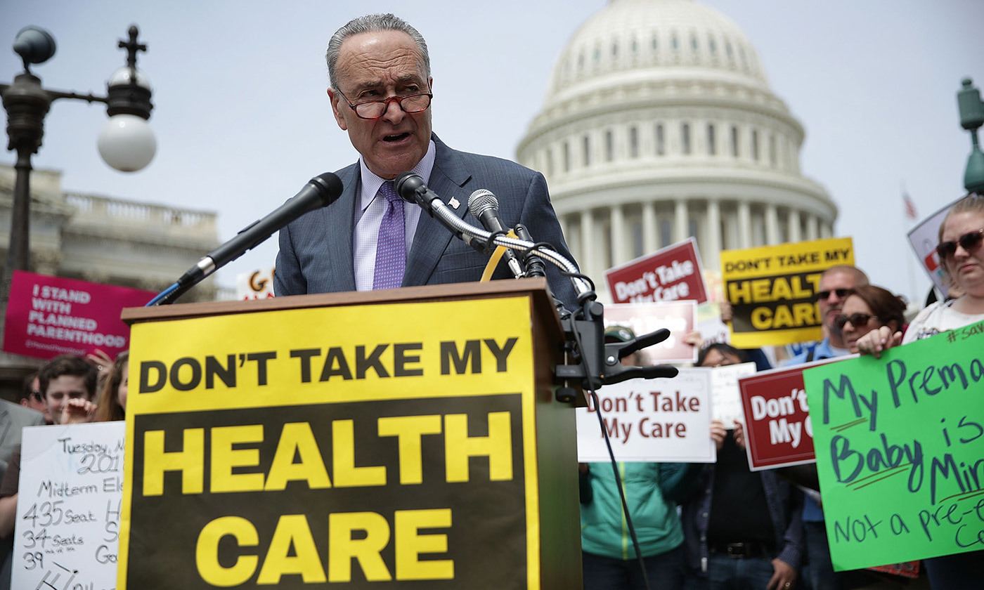 <p>Sen. Charles Schumer speaks during a Stop 'Trumpcare' rally May 4, 2017. <em>Photo by Alex Wong/Getty</em></p>