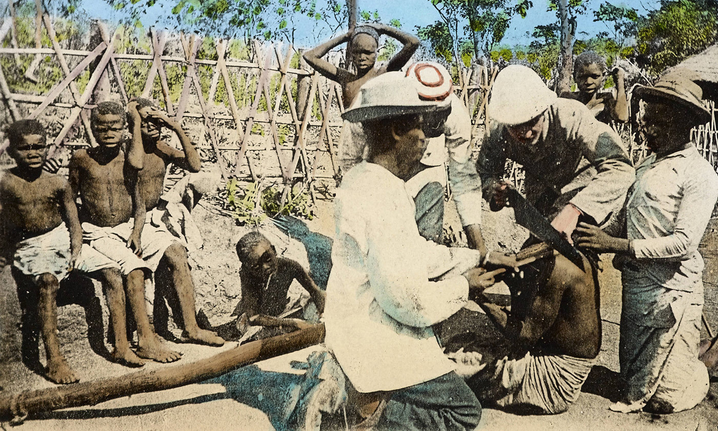 "<p>'Freeing a Slave from the Slave Stick Jamaica' <em>circa</em> 1876. From the International Mission Photography Archive, University of Edinburgh. <em>Courtesy </em><a href=""http://digitallibrary.usc.edu/cdm/search/field/identi/searchterm/impa-m69333"" rel=""""><em>USC Digital Library</em></a></p>"