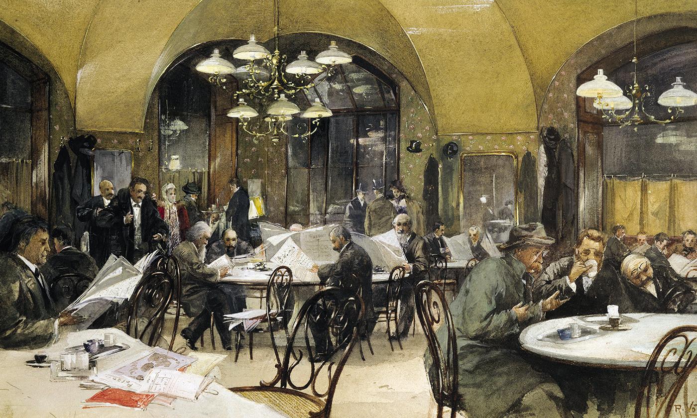 The Café Griensteidl in Vienna, watercolour by Reinhold Voelkel, 1896. <em>Photo by Getty</em>
