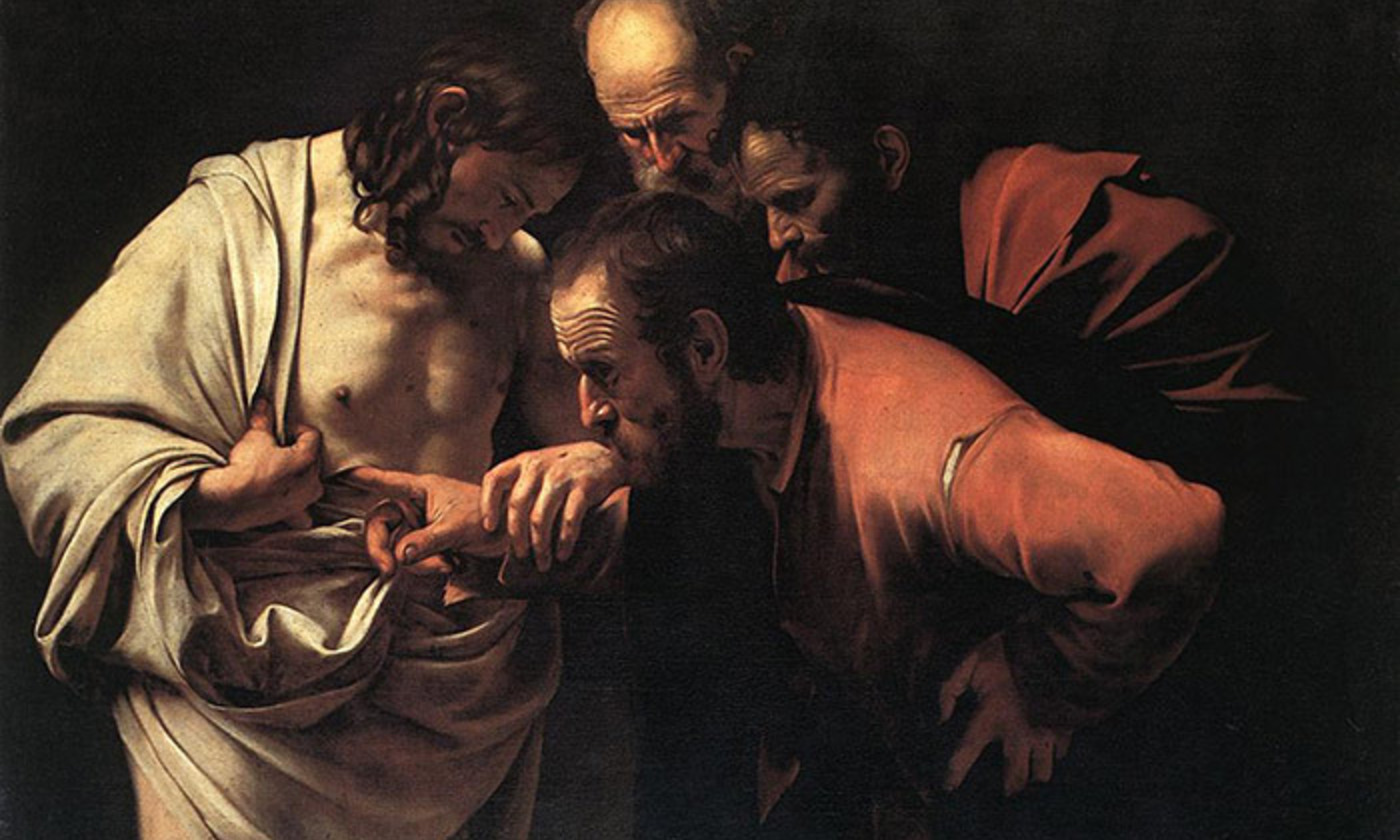 <em>The Incredulity of Saint Thomas</em> (1601-1602), by Caravaggio, Sanssouci Palace, Potsdam, Germany. <em>Courtesy Wikipedia</em>
