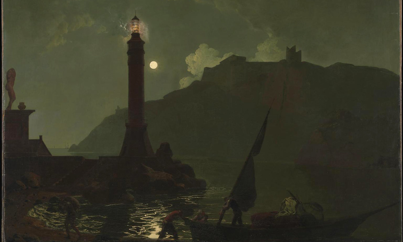 <em>A Moonlight with a Lighthouse, Coast of Tuscany</em> (1789) by Joseph Wright of Derby. <em>Courtesy Tate Britain, London</em>