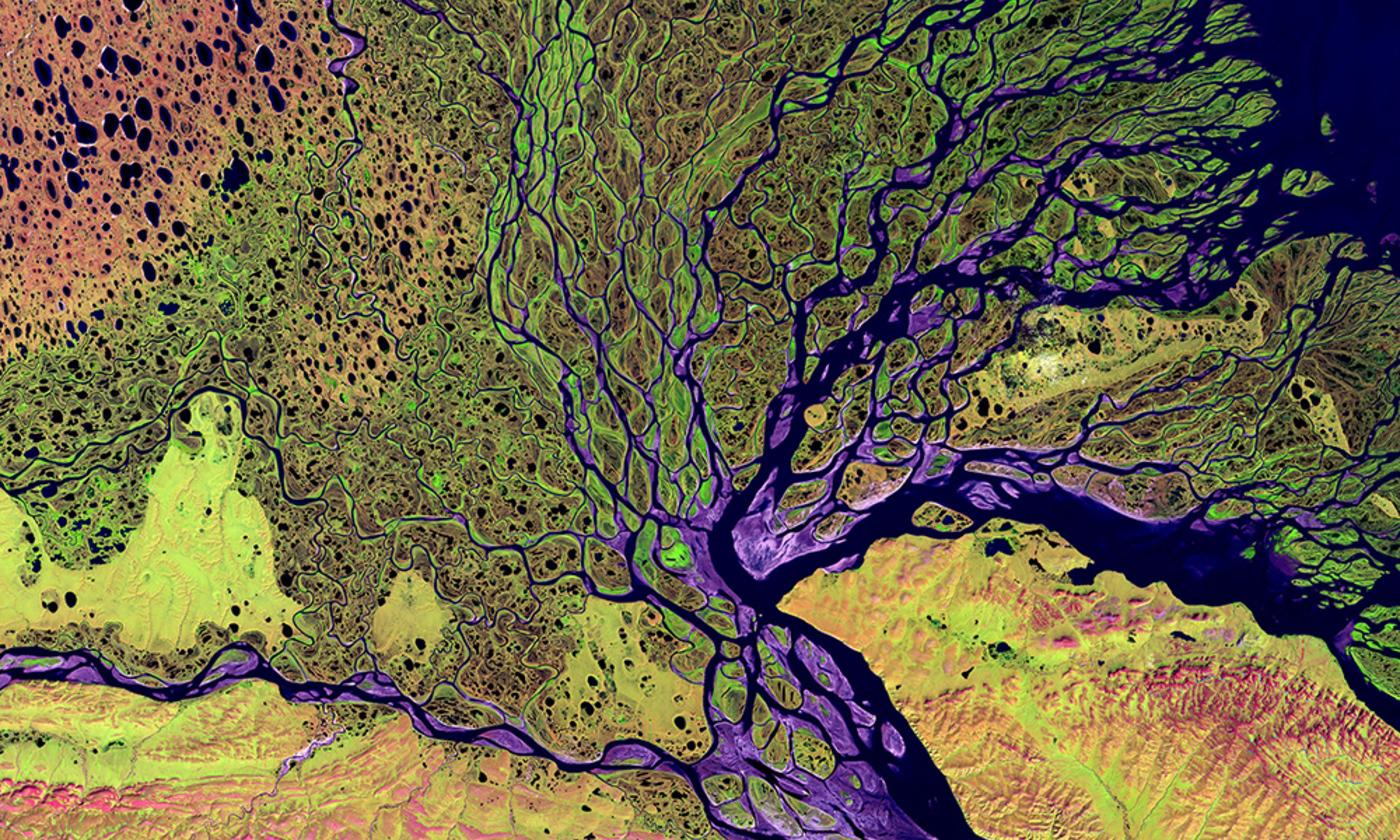 The Lena River Delta in Siberia/LandSat NASA