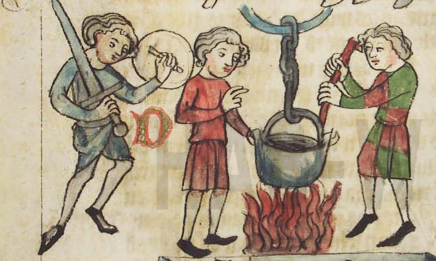 Ordeal of boiling water from a Sachsenspiegel manuscript (1350 - 1375). <em>Photo courtesy the Herzog August Bibliothek, Wolfenbüttel, Germany</em>