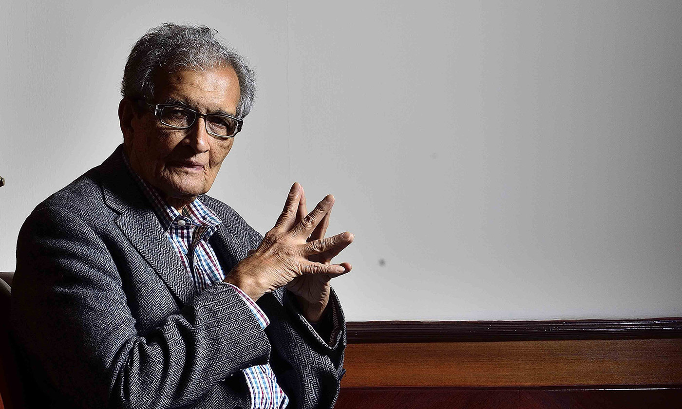 <p>Amartya Sen photographed in New Delhi, 2017. <em>Photo by Priyanka Parashar/Mint/Getty</em></p>