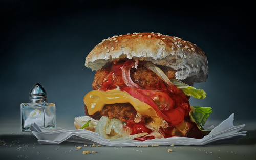 Card essay big burger  2015  120 x 180 cm  oil linen  1