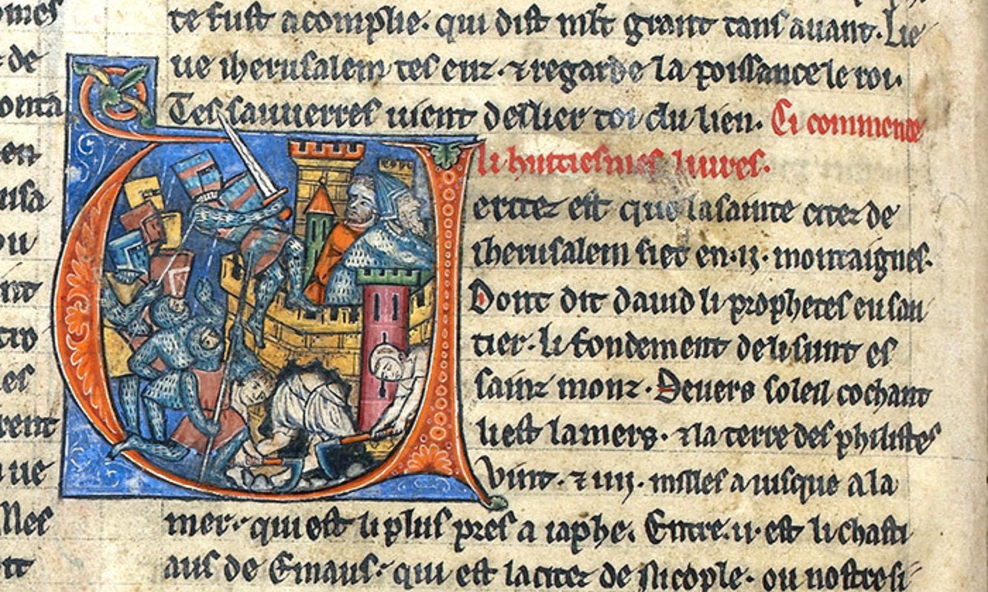 <p>A depiction of the siege of Jerusalem taken from f. 40v of Histoire d'Outremer by William of Tyre. <em>Image courtesy the Trustees of the British Library</em></p>