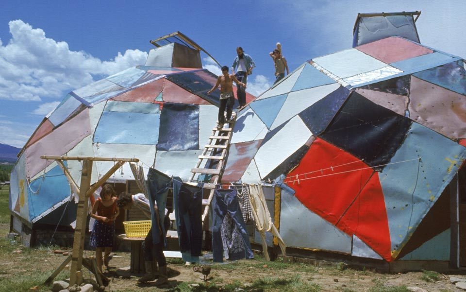 Drop City, an experimental, counter-cultural community based around cheaply constructed geodesic dome structures, Trinidad, Colorado, 1967. Photo by Carl Iwasaki/Time & Life Pictures/Getty.