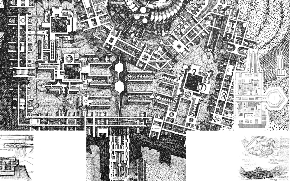 """LOGOLOGY Arcology, location plan, Population 900,000. From """"Arcology: City in the Image of Man"""" by Paolo Soleri, M.I.T Publishing 1970. Photo courtesy Cosanti Foundation"""