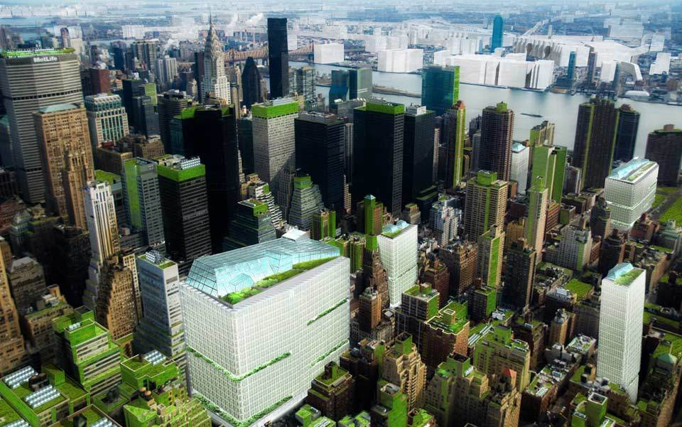 Bird's-eye view of Midtown Manhattan's neighbourhood food hubs in New York City (Steady) State.